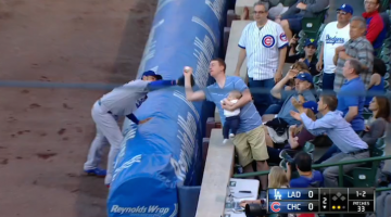 Dad Holding Baby Casually Robs Dodgers First Baseman Of Foul Ball