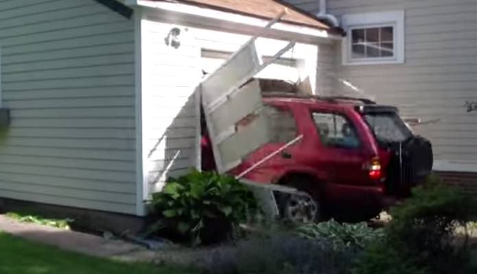 Post grad problems watch this 91 year old man drive for Drive through garage door