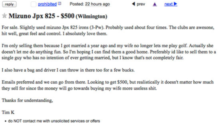 Worst Wife Of All Time Makes Husband Sell His Golf Clubs On Craigslist