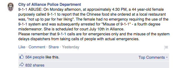 Don't Call 911 To Complain About Bad Chinese Food