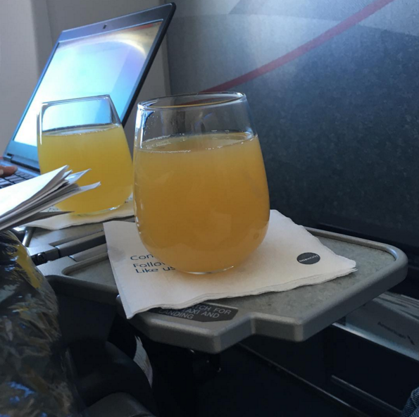 We depleted American of their champagne on the flight.