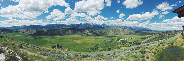 A panoramic view from our Jackson Hole digs.