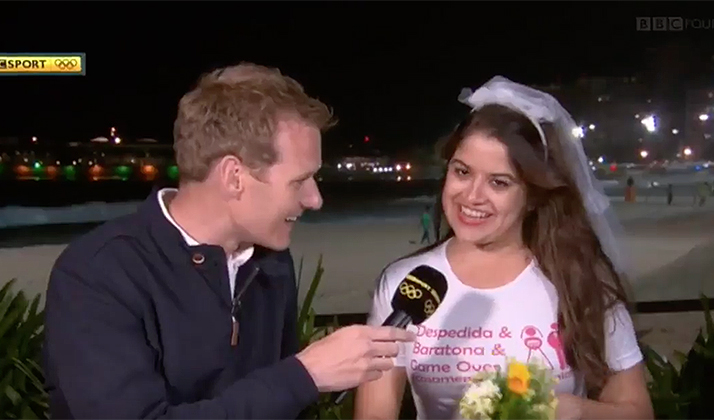Watch This Olympic Broadcast Get Derailed By A Brazilian Bachelorette Party