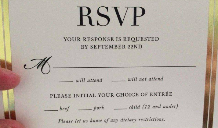 This Couple Had Children As A Dinner Option On Their RSVP Card