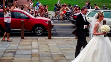This Wedding Photo During Philly's Annual 'Naked Bike Ride' Is The First Candid I Can Get Behind