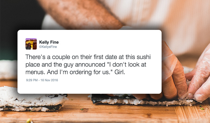 Girl Perfectly Live Tweets Douchebag's Every Move While On A Sushi Date