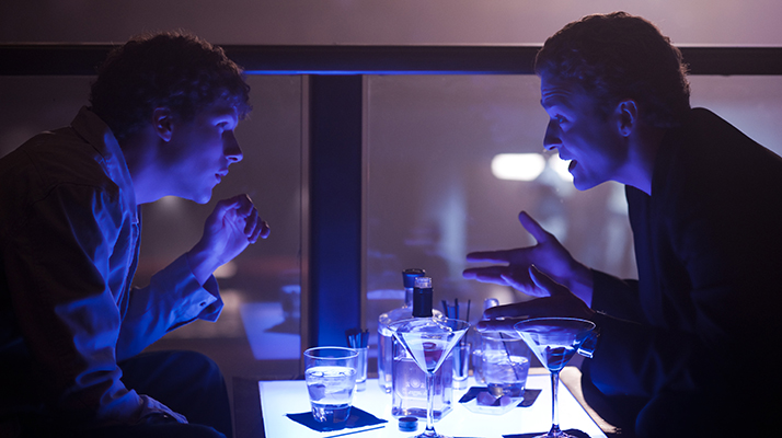 "Jesse Eisenberg, left, and Justin Timberlake in Columbia Pictures' ""The Social Network."""