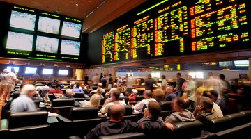 LAS VEGAS - MARCH 19: In this handout provided by the Las Vegas News Bureau, the Mirage Resort Race and Sports Book in Las Vegas is shown crowded with basketball fans during NCAA March Madness Tournament March 19, 2010. in Las Vegas, Nevada.  (Photo by Glenn Pinkerton/Las Vegas News Bureau via Getty Images)